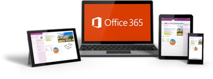 Image is of devices and the Office 365 logo