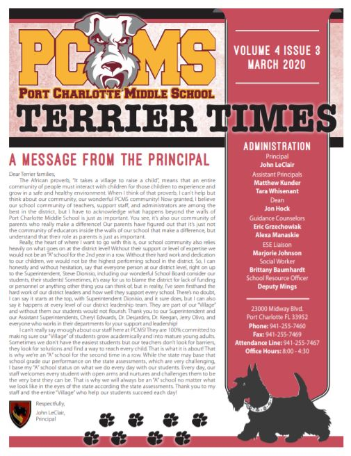Thumbnail March issue of Terrier Times